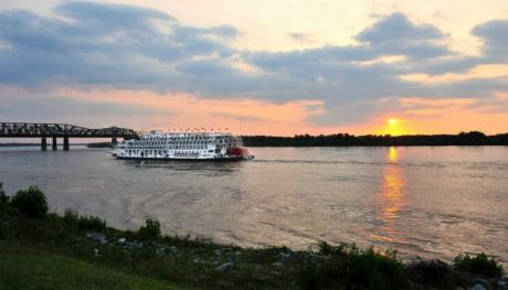 Sunset behind the American Queen Steamboat - Andrea Zucker