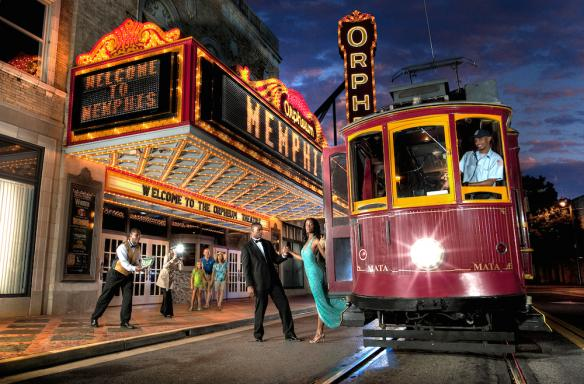 Trolley outside orpheum theatre